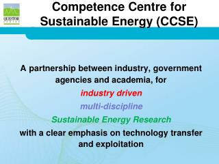 Competence Centre for Sustainable Energy (CCSE)