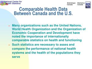 Comparable Health Data Between Canada and the U.S.