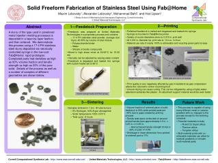 Solid Freeform Fabrication of Stainless Steel Using Fab@Home