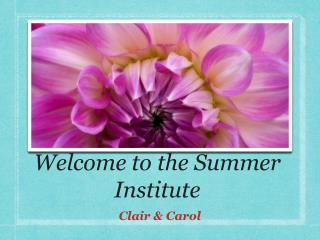 Welcome to the Summer Institute