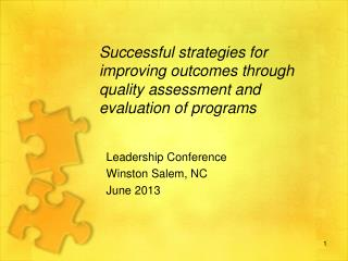 Successful strategies for improving outcomes through quality assessment and evaluation of programs