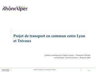 Projet de transport en commun entre Lyon et Trévoux