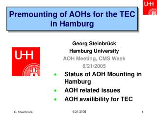 Premounting of AOHs for the TEC in Hamburg