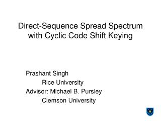 Direct-Sequence Spread Spectrum with Cyclic Code Shift Keying