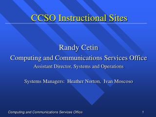 CCSO Instructional Sites