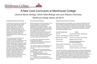 A New Core Curriculum at Morehouse College Lawrence Blumer Biology, Valerie Haftel Biology and Lance Shipman Chemistry M