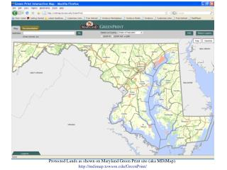 Protected Lands as shown on Maryland Green Print site (aka MDiMap).