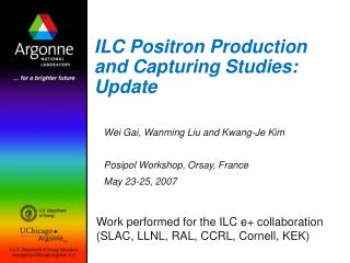 ILC Positron Production and Capturing Studies:  Update