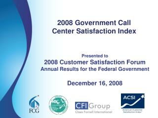 2008 Government Call  Center Satisfaction Index