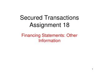 Secured Transactions Assignment 18