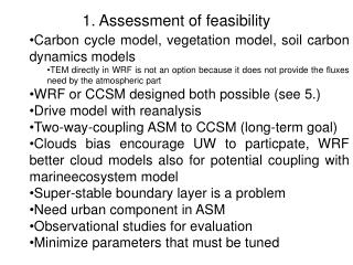 1. Assessment of feasibility