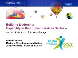 Building leadership Capability in the Human Services Sector –  current trends and future pathways