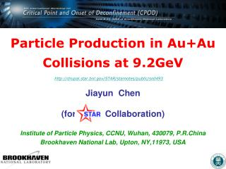 Particle Production in Au+Au Collisions at 9.2GeV