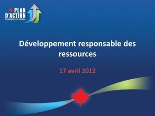 Développement responsable des ressources