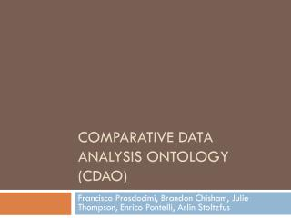 Comparative Data Analysis Ontology (CDAO)