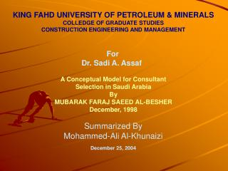KING FAHD UNIVERSITY OF PETROLEUM & MINERALS COLLEDGE OF GRADUATE STUDIES