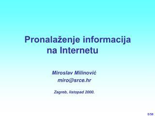 Pronala�enje informacija na Internetu