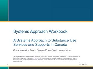 Systems Approach Workbook  A Systems Approach to Substance Use Services and Supports in Canada