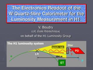 The Electronics Readout of the W/Quartz-fibre Calorimeter for the Luminosity Measurement in H1 .