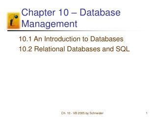Chapter 10 – Database Management