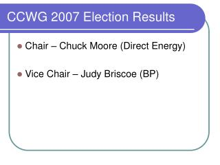 CCWG 2007 Election Results