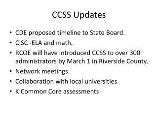 CCSS Updates