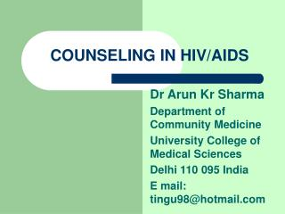 COUNSELING IN HIV