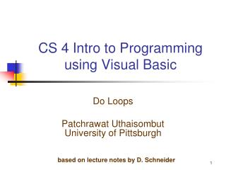 CS 4 Intro to Programming using Visual Basic