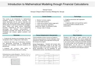 Introduction to Mathematical Modeling through Financial Calculations