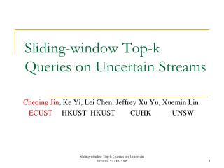 Sliding-window Top-k Queries on Uncertain Streams