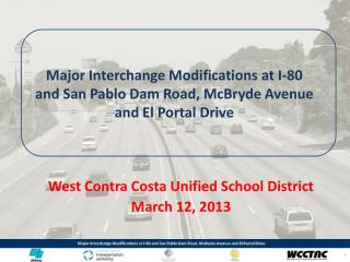 West Contra Costa Unified School District March 12, 2013