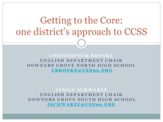 Getting to the Core: one district's approach to CCSS