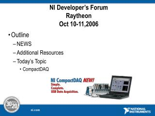 NI Developer's Forum Raytheon Oct 10-11,2006
