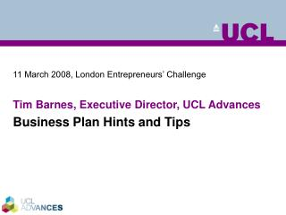 11 March 2008, London Entrepreneurs� Challenge