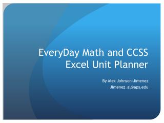 EveryDay  Math and CCSS Excel Unit Planner