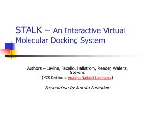 STALK –  An Interactive Virtual Molecular Docking System