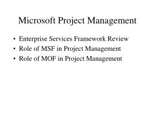 Microsoft Project Management