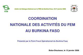 COORDINATION  NATIONALE DES ACTIVIT É S DU FEM  AU BURKINA FASO