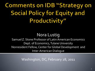 "Comments on IDB ""Strategy on Social Policy for Equity and Productivity"""