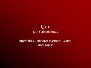 C++ C++ Fundamentals