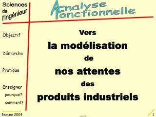 Vers la  m odélisation  de nos attentes des produits industriels