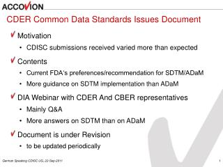 CDER Common Data Standards Issues Document