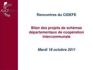 Rencontres du CIDEFE Bilan des projets de sch�mas d�partementaux de coop�ration intercommunale