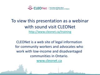 To view this presentation as a webinar with sound visit CLEONet cleonet/training