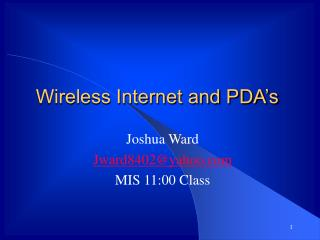 Wireless Internet and PDA's