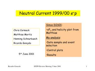 Neutral Current 1999/00  e + p