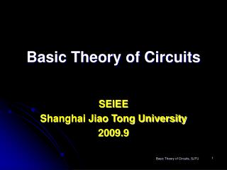 Basic Theory of Circuits