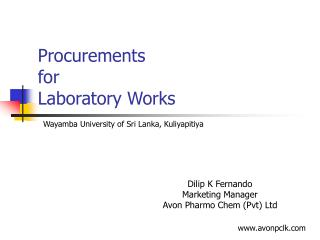 Procurements  for  Laboratory Works