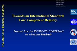 Towards an International Standard  Core Component Registry