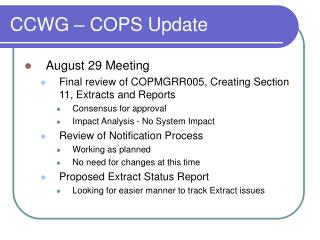 CCWG – COPS Update
